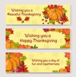 Sistema de la bandera del día de la acción de gracias Composición del otoño del arte del pixel con follaje y verduras ilustración del vector