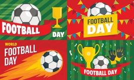 Sistema de la bandera del día del fútbol, estilo plano libre illustration