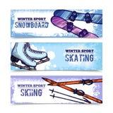 Sistema de la bandera del deporte de invierno Fotos de archivo libres de regalías