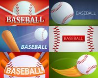 Sistema de la bandera del equipo de béisbol, estilo de la historieta ilustración del vector