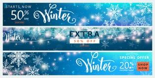 Sistema de la bandera del invierno Diseño del fondo de la venta del color con la nieve de la Navidad, copo de nieve libre illustration