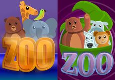 Sistema de la bandera del parque zoológico del parque, estilo de la historieta stock de ilustración