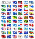 Sistema de la bandera del vector que agita americano Foto de archivo