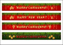 Sistema de la bandera del web de la Navidad Foto de archivo libre de regalías