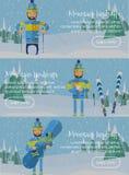 Sistema de la bandera del web del esquí Imagen de archivo libre de regalías