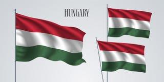 Sistema de la bandera de Hungría que agita del ejemplo del vector Fotografía de archivo