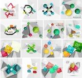 Sistema de la bandera infographic de papel geométrica abstracta Imágenes de archivo libres de regalías
