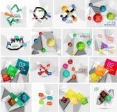 Sistema de la bandera infographic de papel geométrica abstracta Imagen de archivo