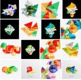 Sistema de la bandera infographic geométrica abstracta Imagenes de archivo