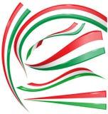 Sistema de la bandera italiana y mexicana aislado