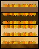 Sistema de la bandera de las hojas de otoño Frontera de la naturaleza Foto de archivo