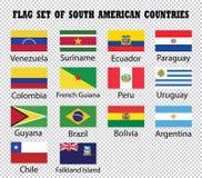 Sistema de la bandera de países suramericanos stock de ilustración