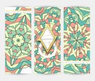 Sistema de la bandera 3 Plantilla geométrica del modelo de la mandala Fotografía de archivo