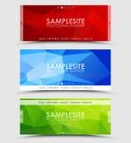 Sistema de la bandera poligonal geométrica Fotografía de archivo libre de regalías