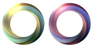 Sistema de la bandera redonda con el torbellino multicolor que remolina El objeto está a parte del fondo stock de ilustración