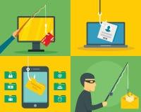 Sistema de la bandera de la seguridad del correo electrónico del phishing, estilo plano ilustración del vector