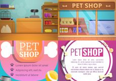 Sistema de la bandera de la tienda del animal doméstico, estilo de la historieta libre illustration