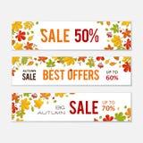 Sistema de la bandera de la venta con las hojas de otoño brillantes aisladas en el fondo blanco Imagenes de archivo