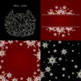 Sistema de la barba de santa del copo de nieve del fondo de los cristmas Fotografía de archivo libre de regalías