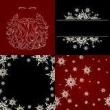 Sistema de la barba de santa del copo de nieve del fondo de los cristmas Imagen de archivo