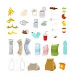 Sistema de la basura Colección del icono de los desperdicios Muestra de la basura símbolo de la litera libre illustration