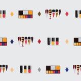 Sistema de la belleza con los productos de belleza coloridos - el sistema del maquillaje, botellas de los esmaltes de uñas, clavo stock de ilustración