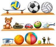 Sistema de la bola y otros juguetes Imágenes de archivo libres de regalías