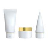 Sistema de la botella cosmética realista en un fondo blanco La colección cosmética del paquete para la crema, sopas, hace espuma, stock de ilustración