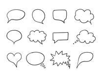 Sistema de la burbuja de la charla del vector, colección de la caja del discurso, elementos dibujados mano del diseño, dibujos de libre illustration