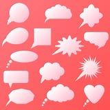 Sistema de la burbuja del discurso aislado en fondo rosado Foto de archivo libre de regalías