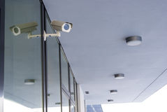 Sistema de la cámara que guarda el edificio de oficinas Imagen de archivo