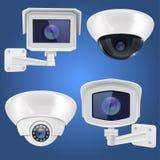 Sistema de la cámara de seguridad Pared y sistema de vigilancia de montaje en el techo del CCTV en fondo azul libre illustration