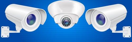 Sistema de la cámara de seguridad Pared y sistema de vigilancia de montaje en el techo del CCTV en fondo azul ilustración del vector
