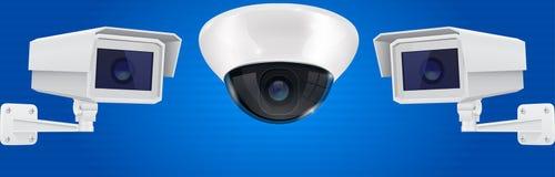 Sistema de la cámara de seguridad Pared y sistema de vigilancia de montaje en el techo del CCTV en fondo azul stock de ilustración