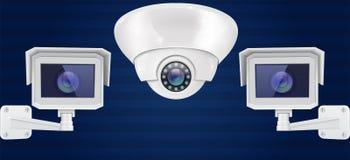 Sistema de la cámara de seguridad Pared y sistema de vigilancia de montaje en el techo del CCTV en fondo azul Front View ilustración del vector