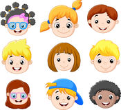 Sistema de la cabeza de los niños de la historieta Imagen de archivo