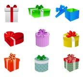 Sistema de la caja de regalo Fotografía de archivo