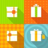 Sistema de la caja de regalo de los iconos Fotografía de archivo libre de regalías