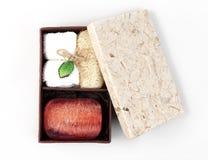 Sistema de la caja del jabón del balneario Imagenes de archivo