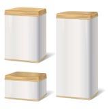Sistema de la caja del metal Colección retra del espacio en blanco del paquete del producto Foto de archivo