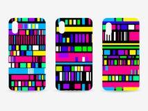 Sistema de la caja del teléfono Fondo del modelo de la interferencia Error de la señal, mosaico del pixel Vector stock de ilustración