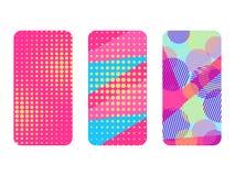 Sistema de la caja del teléfono Memphis Pattern Background Elementos geométricos Memphis en el estilo de 80s Vector Imágenes de archivo libres de regalías