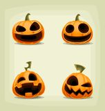Sistema de la calabaza de Halloween de la historieta del vector con la cara asustadiza de la risa Fotos de archivo libres de regalías