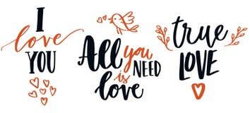 Sistema de la caligrafía del amor Fotos de archivo