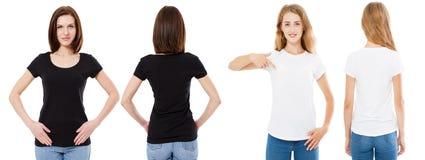 Sistema de la camiseta Frente y morenita trasera de la visión y rubio en la camiseta blanca y negra aislada Muchacha dos en la ca imagen de archivo