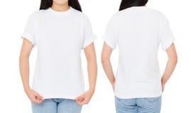 Sistema de la camiseta de la mujer, camiseta trasera delantera aislada en blanco, camiseta de las opiniones de la muchacha foto de archivo