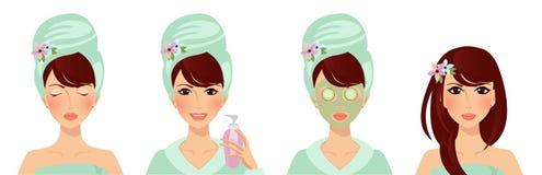 Sistema de la cara de la belleza del sistema de Skincare de las mujeres elegantes libre illustration