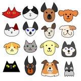 Sistema de la cara de perros y de gatos Imágenes de archivo libres de regalías