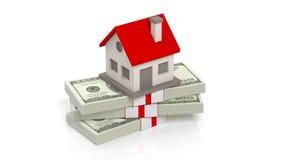 Sistema de la casa en 100 billetes de banco del dólar en pila stock de ilustración