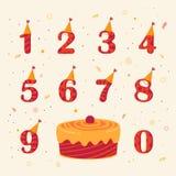 Sistema de la celebración del cumpleaños de los iconos Imágenes de archivo libres de regalías